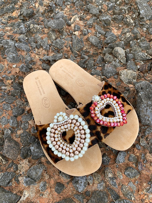 "Suede Leather Sandals ""Fou D' Amour"""