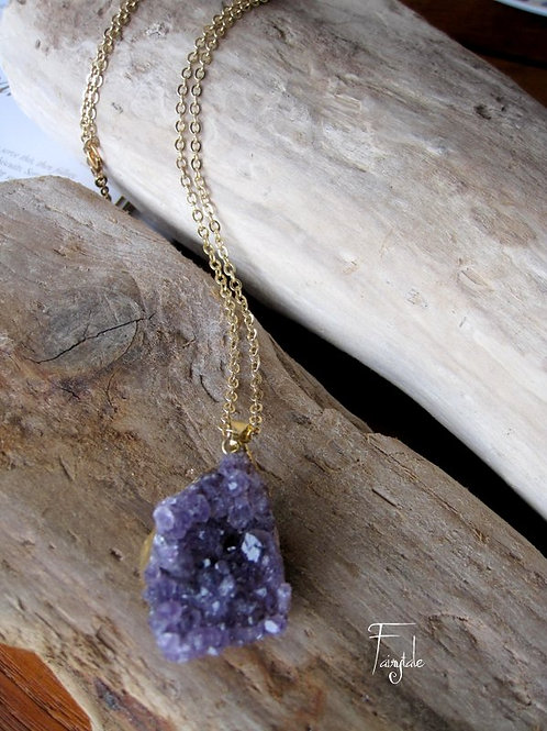 "Amethyst Druzy Necklace ""Panas"""