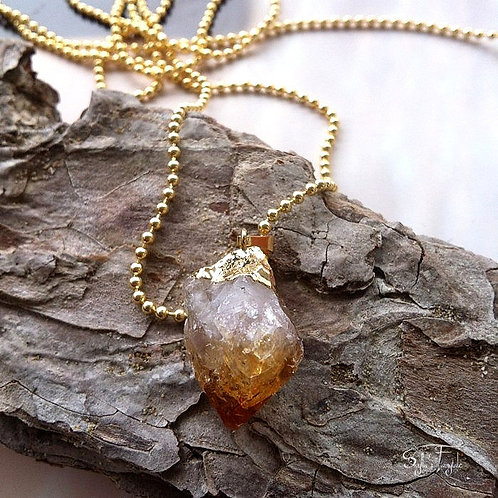 Raw Citrine and Gold Necklace -Citrine