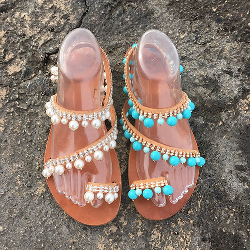"""Jeweled Leather sandals - """"Pearl"""""""
