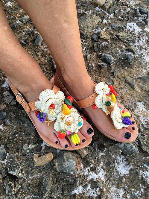 Leather sandals with fruits - LA FRUTA