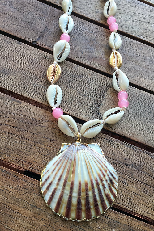 "Cowrie Shell And Agates long necklace ""MILOS"""