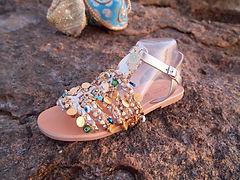 Jeweled Greek Leather Sandals for Women