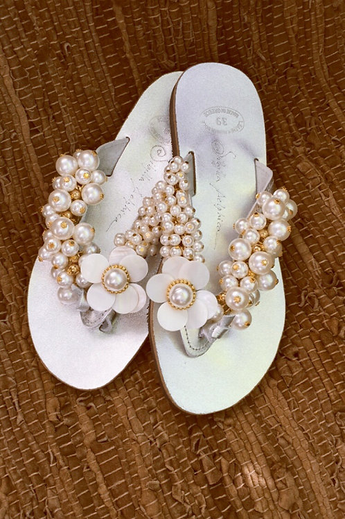 "Leather sandals jeweled with pearls  ""NYMPH"""