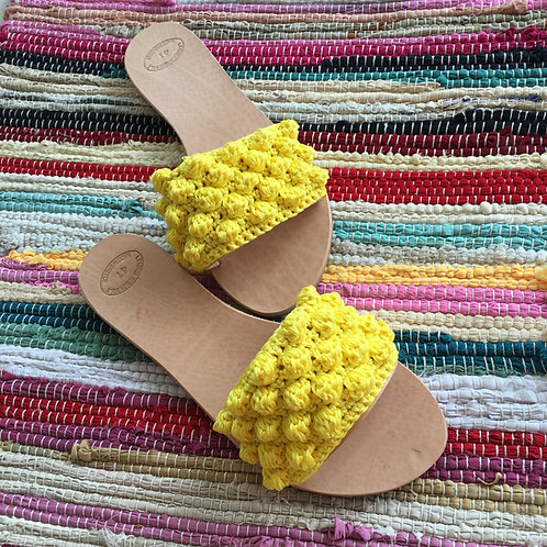 "Leather sandals crochet- ""Bubbly"""