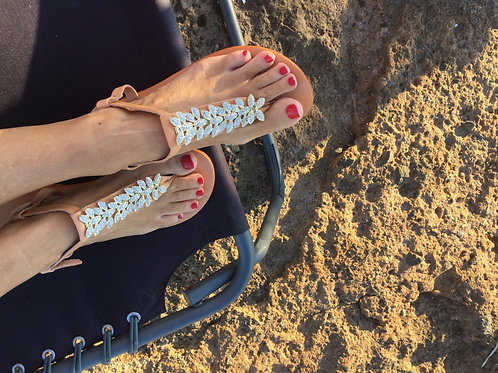 "Jeweled leather sandals - Leather Sole ""LEAVES"""