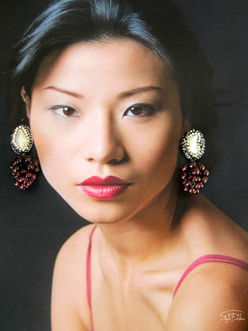 Pearl & Garnet  Chandelier Earrings