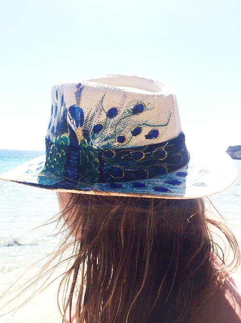Hand Painted Panama Hat - Peacock