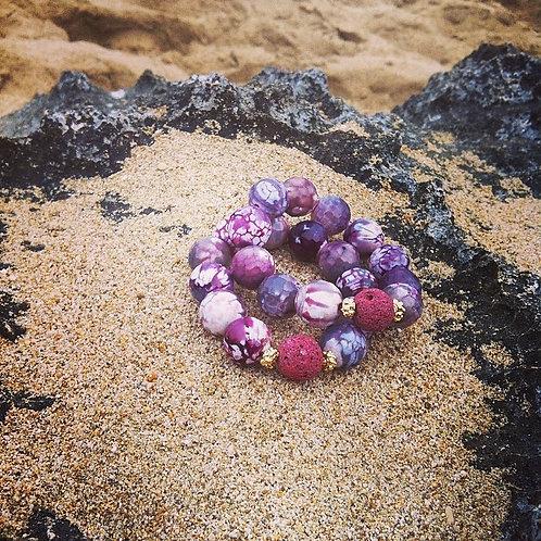 Lace Agate & Coral Bracelet -Hera