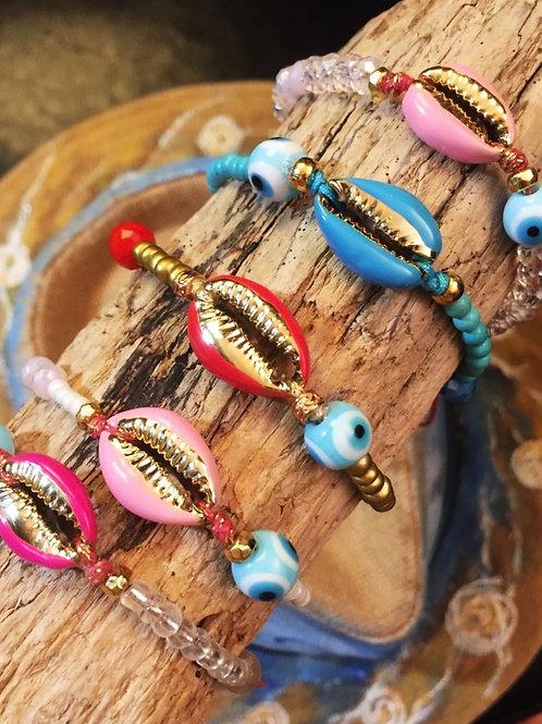 Colorful Enameled Cowrie Bracelets