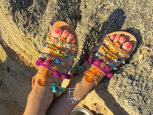 "Leather Gladiator sandals/pom pom sandals ""Calypso"