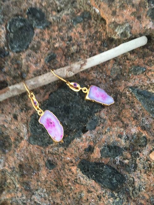 Pink Bazilian Agate Drusy earrings -OOAK