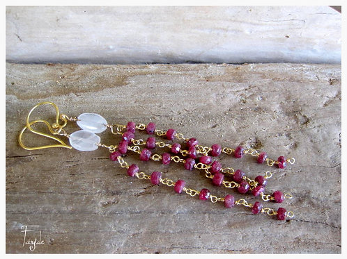 Ruby & Amethyst Hand Wrapped Earrings - Circe