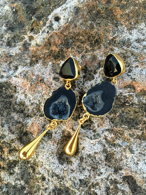 "Druzy Black Agate and Onyx Earrings ""Penelope"""