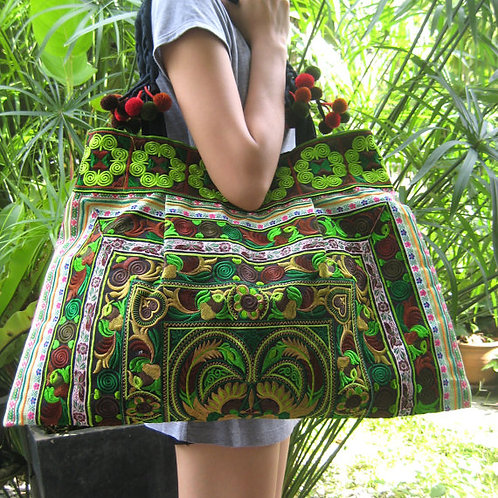 Brocade embroidered Thai large tote bag