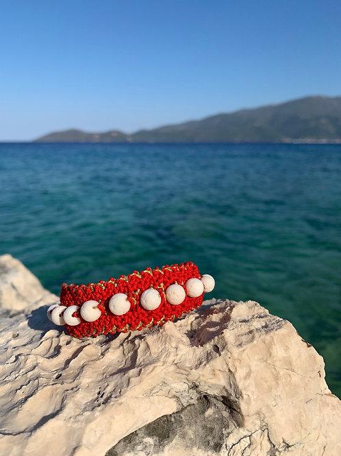 "Macrame Woven bracelet -""White Coral""New"