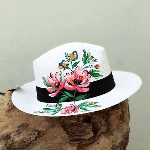 "Hand Painted Panama Hat - ""Poppies"""