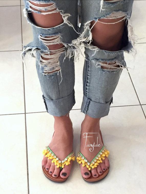 b0b1a39ce403 Pom poms Greek Leather sandals -