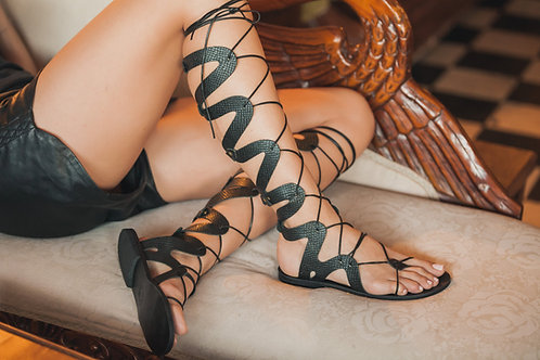 "Gladiator style  High Greek Leather sandal ""Spartacus"""