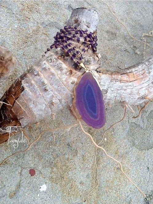 """Amethyst Rosary Chain and Agate pendant """"No 5"""""""