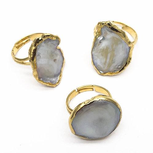 "Natural Pearl Gemstone Adjustable Cocktail Ring - ""Agatha"""