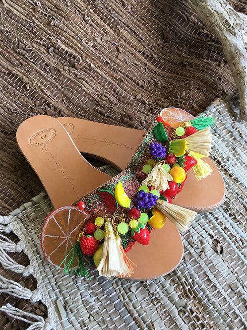 Leather sandals embellished with fruits and crystals - TROPICANA