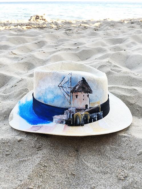 Hand Painted Panama Hat - Mykonos