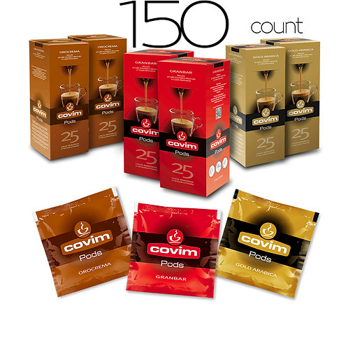 caffeCOVIM - Mixed Pods, 3 Varieties 6x25 Dispenser Boxes (150 count)