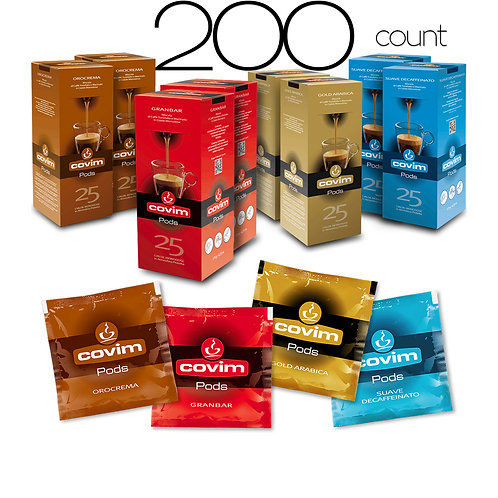 caffeCOVIM - Mixed Pods, 4 Varieties 8x25 Dispenser Boxes (200 count)