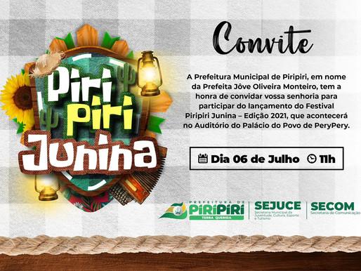Prefeitura lança o Festival Piripiri Junina nesta terça, dia 06 de julho