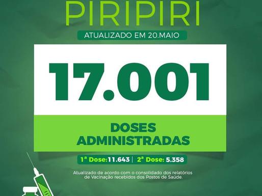20/Maio ▪ O Vacinômetro de Piripiri aponta 15.603 doses administradas
