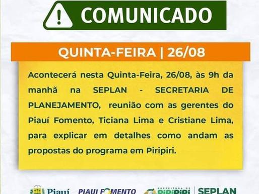 Reunião sobre o Piauí Fomento acontece nesta quinta-feira