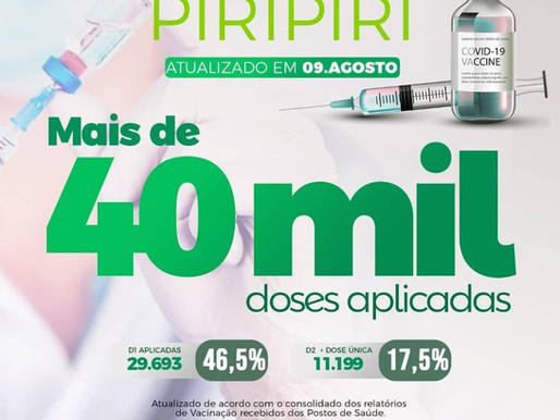 Chegamos a marca de mais de 40 mil doses administradas em Piripiri