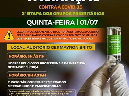 Saúde de Piripiri realiza nesta quinta (1-07)  terceira etapa de vacinação contra Covid-19
