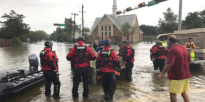 photo of Salem Lutheran, Houston, surrounded by water