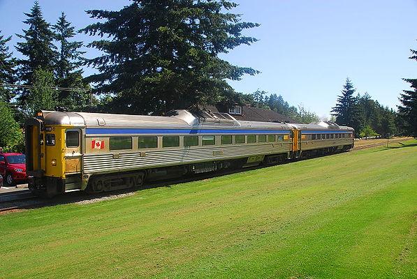 VIA Rail RDCs at Qualicum_Beach_Station_