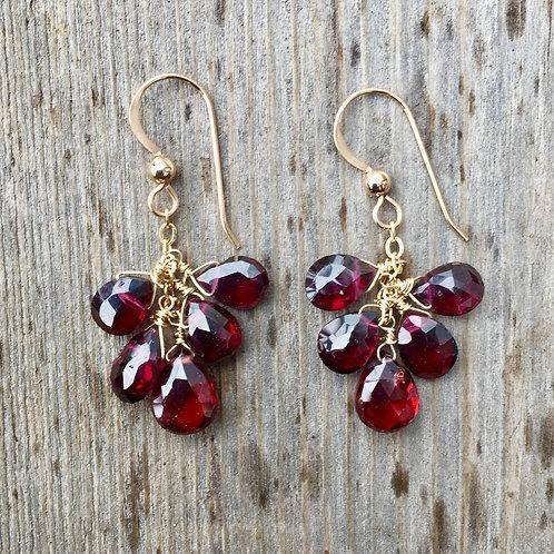 Five Garnet Cluster Earrings