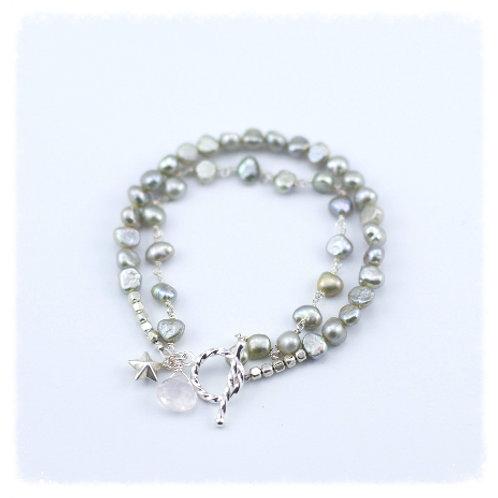 Light Gray Pearl Rosary Double Bracelet