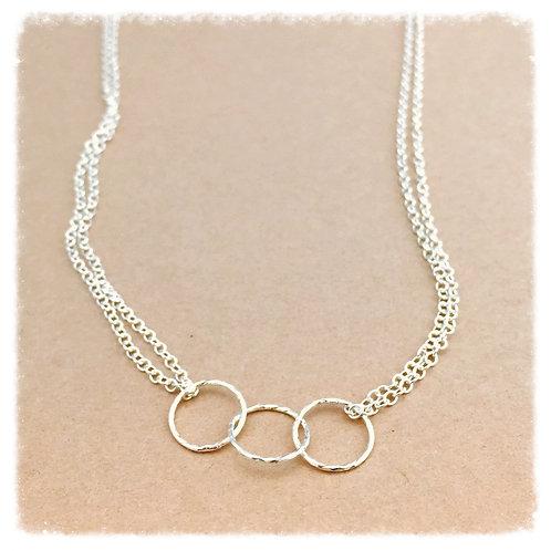 Triple Simple Silver Necklace