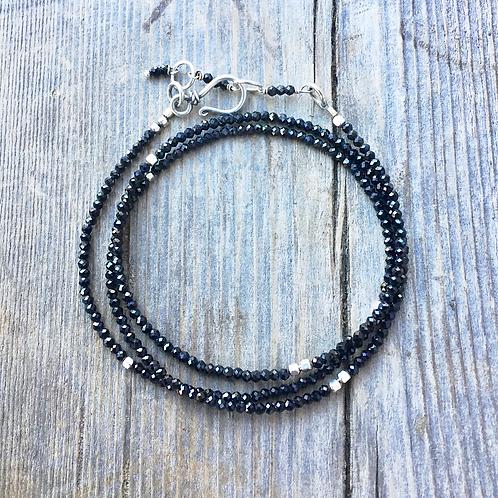 Sterling Silver & Sparkly Black Spinal Triple Wrap Bracelet