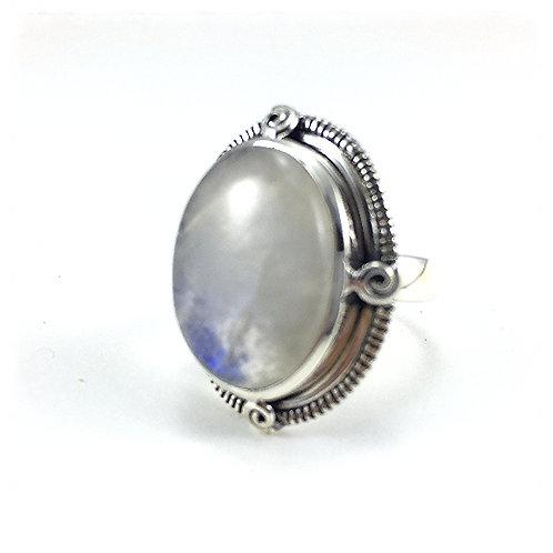 Round Rainbow Moonstone Ring