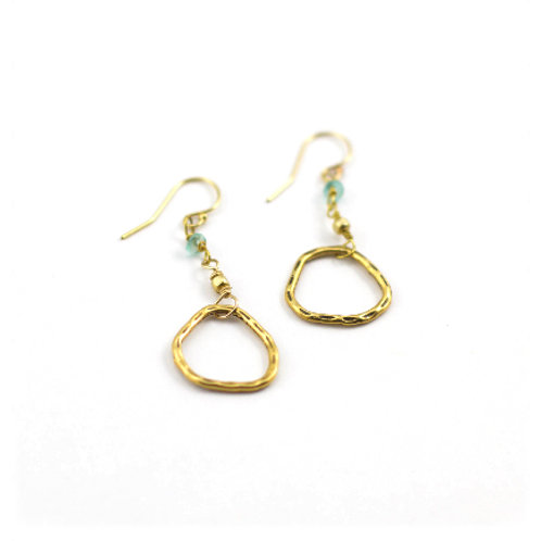 Hammered Ring with Topaz Earrings