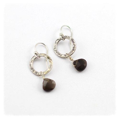 Silver Circle with Smokey Quartz Drop Earrings