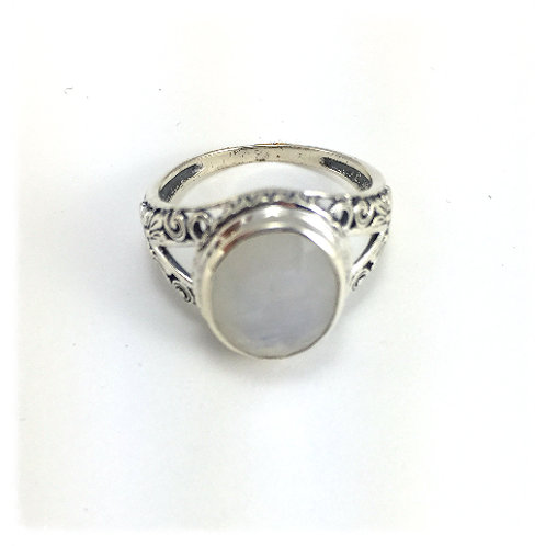 Carved Sterling and Moonstone Ring