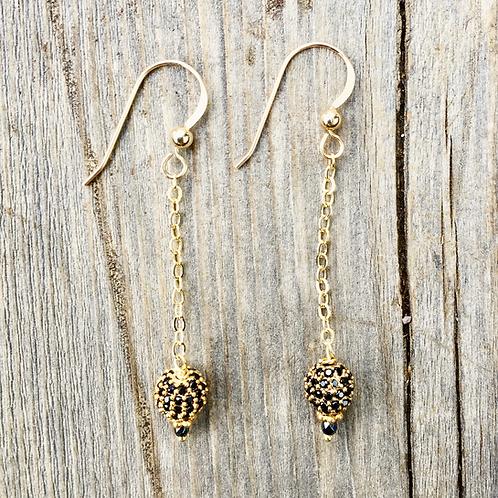 Gold Dangling Spinel Earrings