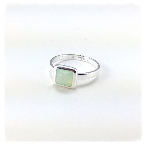 Square Green Chalcedony Ring