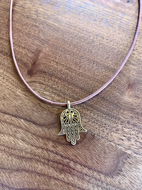 Hamsa and Leather Necklace