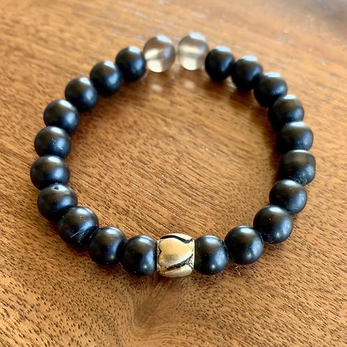 Matte Onyx and Smokey Quartz Bracelet
