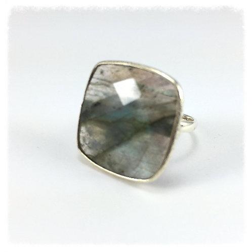 Square Thin Labradorite Ring