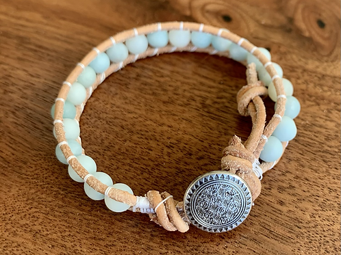 Amazonite Single Leather Wrap